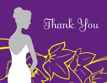 Bride on Flowers Purple Thank You Cards