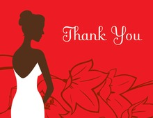 Bride on Flowers Red Thank You Cards
