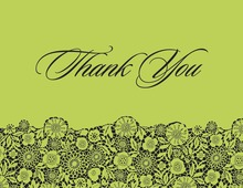 Playful Black Floral Green Patterned Thank You Cards