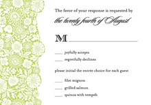 Black Floral In Green Patterned RSVP Cards
