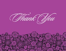 Black Floral In Purple Patterned Thank You Cards