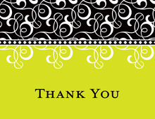 Black Green Flourish Thank You Cards