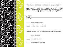 Black Green Flourish RSVP Cards