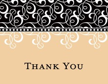 Black Cream Flourish Thank You Cards
