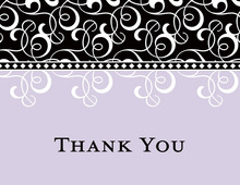Black Lavender Flourish Thank You Cards