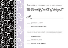 Black Lavender Flourish RSVP Cards