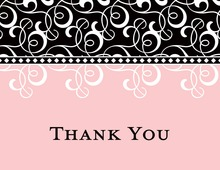 Black Pink Flourish Thank You Cards