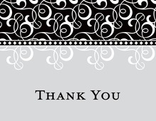 Black Grey Flourish Thank You Cards
