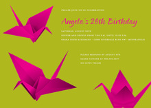 Fun Maroon Origami Green Invitation