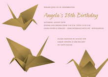 Fun Brown Origami Pink Invitation