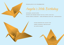 Fun Orange Origami Blue Invitation