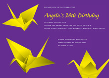 Fun Yellow Origami Purple Invitation