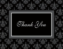 Modern Damask Black Thank You Cards