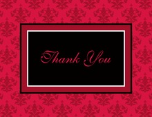 Modern Damask Red Thank You Cards