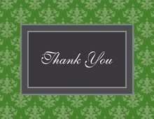 Modern Damask Green Thank You Cards