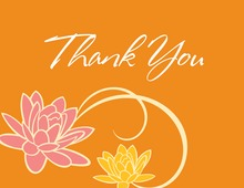 Floral Breeze Orange Thank You Cards