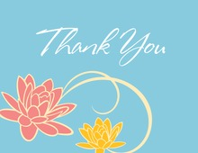 Floral Breeze Blue Thank You Cards