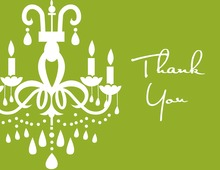 White Chandelier Green Thank You Cards