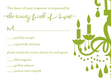 White Chandelier Green RSVP Cards
