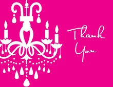 White Chandelier Pink Thank You Cards