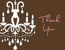 White Chandelier Chocolate Thank You Cards