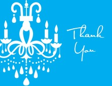 White Chandelier Blue Thank You Cards