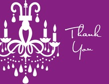 White Chandelier Purple Thank You Cards