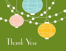 Lantern Glow Green Thank You Cards