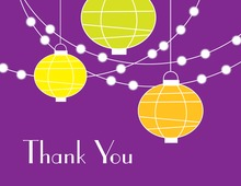 Lantern Glow Purple Thank You Cards