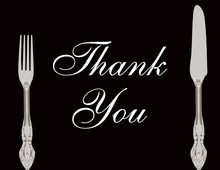 Cutlery Black Thank You Cards