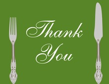 Cutlery Green Thank You Cards