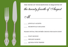 Cutlery Green RSVP Cards