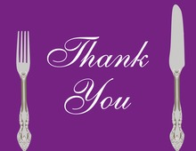 Cutlery Purple Thank You Cards