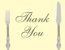 Cutlery Cream Thank You Cards