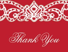 Embellished Vine Red Thank You Cards