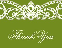 Embellished Vine Green Thank You Cards