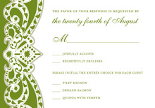 Embellished Vine Green RSVP Cards