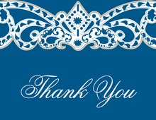 Embellished Vine Blue Thank You Cards