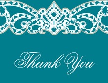 Embellished Vine Teal Thank You Cards