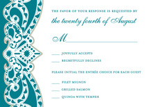 Embellished Vine Teal RSVP Cards