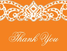Embellished Vine Orange Thank You Cards