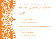 Embellished Vine Orange RSVP Cards