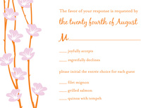 Floral String Orange RSVP Cards