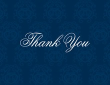 Modern Navy Damask Thank You Cards