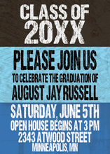 Distressed Blue Top Charcoal Invitation