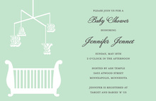 Antique Mobile Bassinette Green Invitations