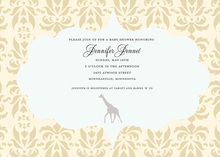 Beige Yellow Damask Frame Giraffe Invitations