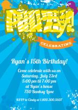 Funky Yellow PARTY In Blue Invitations