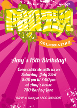 Funky Yellow PARTY In Pink Invitation