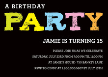 Unique PARTY Font In Black Invitation
